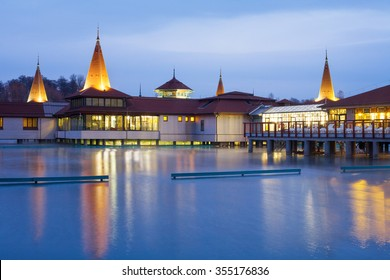 The famous Heviz Spa at night. Heviz lake is the 2nd largest natural thermal lake in the world.