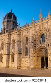 famous Hieronymites Monastery (Mosteiro dos Jeronimos) UNESCO World Heritage Site in Lisbon, Portugal (sunset picture)