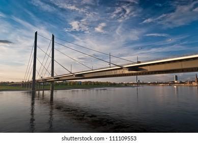 "The famous highway bridge ""Fleher"" of Dusseldorf in Germany"