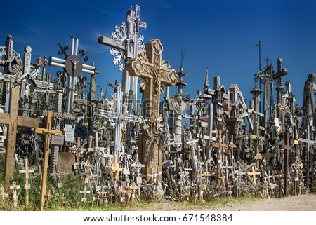 Famous Hill of Crosses in Lithuania