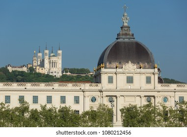 Famous and historic architecture in the French city of Lyon.