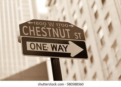 Famous historic Chestnut street in Center City district of Philadelphia, PA
