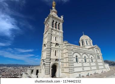 The famous historic church Notre Dame de la Garde of Marseille in South France .