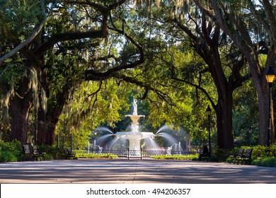 Famous historic Forsyth Fountain in Savannah, Georgia USA