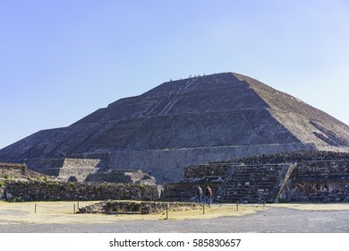 The famous and historical Pyramid of the Sun in Teotihuacan, Mexico