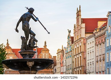 Famous historical sculpture of Neptune in old town market in Gdansk