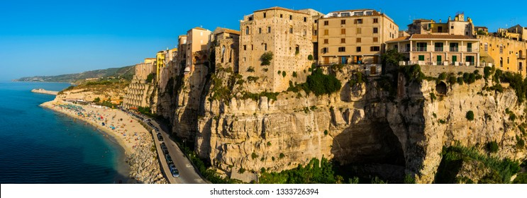 Famous historical sea resort town of Tropea in Calabria region, Southern Italy. Panorama