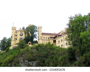 Famous Hohenschwangau Castle on a rugged hill above the village of Hohenschwangau near Fussen in southwest Bavaria, Germany
