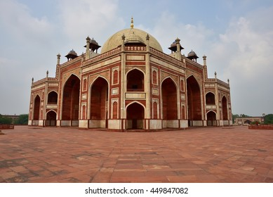 Famous Humayun's Tomb in Delhi, India. It is the tomb of the Mughal Emperor Humayun.It was commissioned by Humayun's son Akbar in 1569-70, and  designed by Mirak Mirza Ghiyas