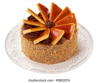 Famous Hungarian Dobos torte - cake with special frosting - isolated on white