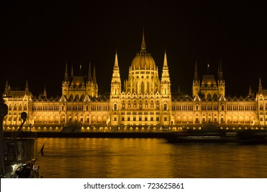 The famous Hungarian Parliament Building by night in Budapest, Hungary.