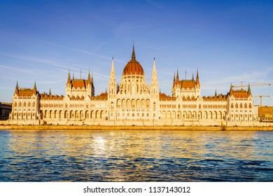 Famous Hungarian Parliament Building on the bank of the Danube River