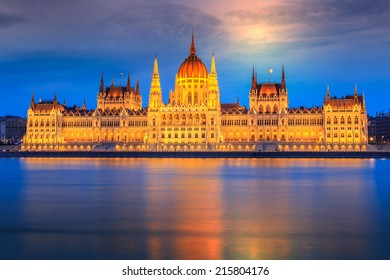 The famous Hungarian Parliament at night, Budapest, Hungary.