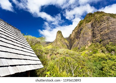 The famous Iao Needle in the Iao Valley State Park in Maui, Hawaii.