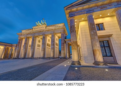 The famous illuminated Brandenburg Gate in Berlin, Germany, at night