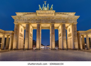 The famous illuminated Brandenburger Tor in Berlin early in the morning