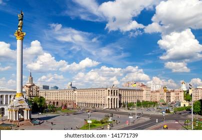 Famous Independence Square (Maidan Nezalezhnosti) in Kiev, Ukraine