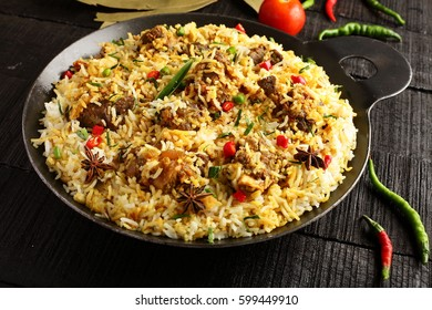 Famous Indian Mutton pilaf or  dum biriyani  from authentic cuisine,