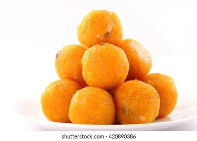 Famous  Indian sweets Motichoor Laddu or Laddoo