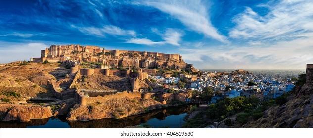 Famous indian tourist landmark - Panorama of Mehrangarh Fort and Padamsar Talab and Ranisar Talab lakes , Jodhpur, Rajasthan, India