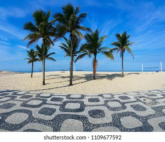 Famous Ipanema Mosaic Sidewalk With Palm Trees in the Beach, in Rio de Janeiro, Brazil