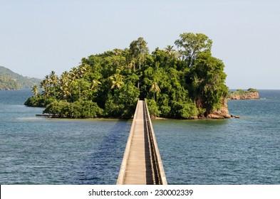 Famous island of Dominican Republic city Samana and the bridge.