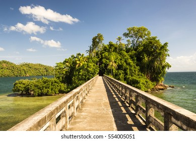 Famous island of Dominican Republic city Samana Las Terrenas and the bridge as a landmark.