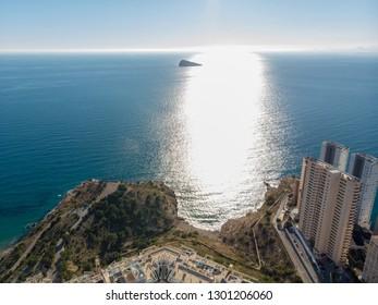 The famous island locally know as Mirador de la Isla de Benidorm island in Benidorm Alicante in Spain.