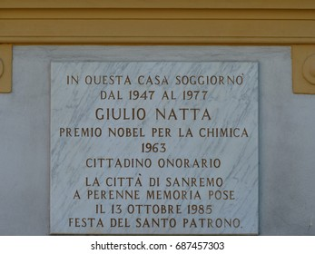 "Famous italian chemist ""Giulio Natta"" plaque at ""Sanremo"" Italy. Photo taken on June 2017 in Sanremo Italy in front of the house where Giulia Natta lived for many years."