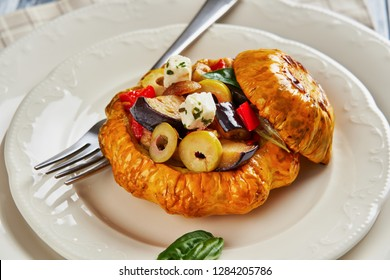Famous italian dish caponata, close up, horizontal