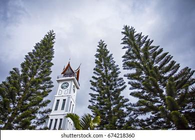 The Famous Jam Gadang (Clock Tower), a tourist destination in Bukit Tinggi, West Sumatera, Indonesia