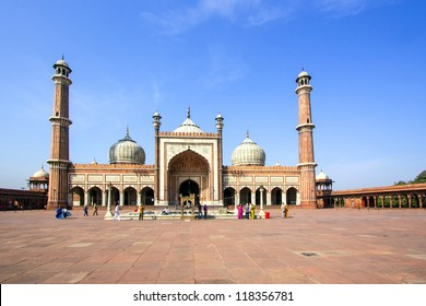 famous Jama Masjid Mosque in old Delhi, India.