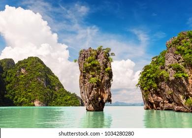 Famous James Bond island near Phuket in Thailand
