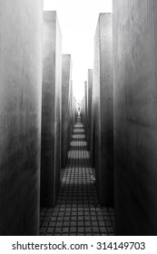 Famous Jewish Holocaust Memorial near Brandenburger Tor (Brandenburg Gate) in Black and White, Berlin Mitte, Germany