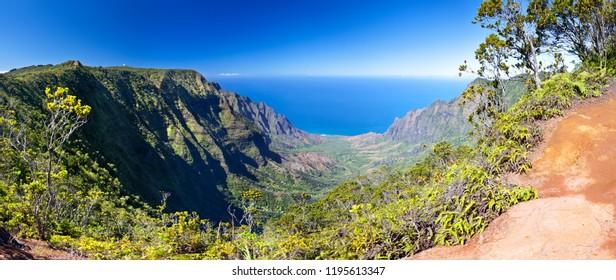 The famous Kalalau Valley in Kauai, Hawaii.