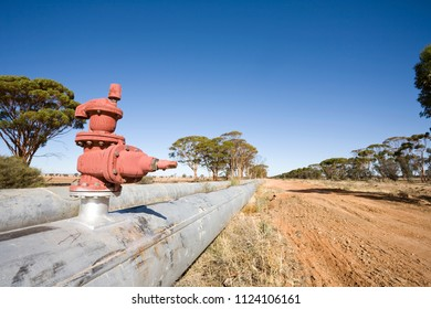 The famous Kalgoorlie to Perth pipeline rural Australia.