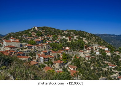 The famous Karytaina village with the historical castle centered at the top of the hill. located in Arcadia Peloponnese, Greece