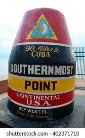 Famous Key West, Florida Buoy sign marking the southernmost point