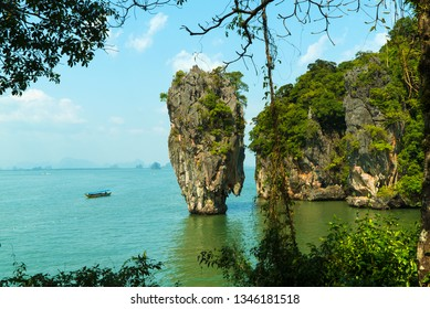 "Famous Khao Ta-Pu rock at the Khao Phing Kan in the National Park Phang Nga Bay. The island is known as the James Bond Island from the movie ""The Man with the Golden Gun""."