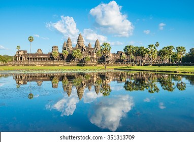 Famous khmer Angkor Wat temple in Cambodia with water reflection