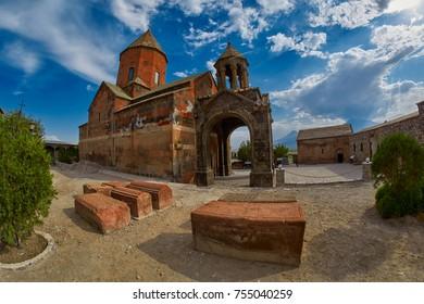Famous Khor Virap Monastery on Armenia-Turkey Border near Ararat Mountain