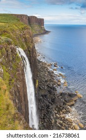 Famous Kilt Rock and a waterfall in the foreground on the Isle of Skye, Scotland