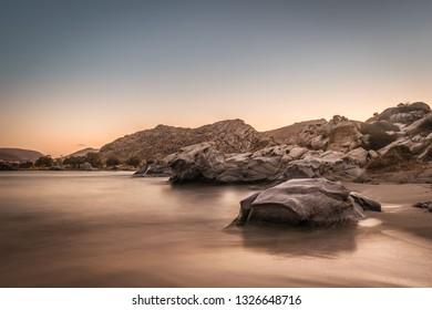 Famous Kolymbithres beach at Paros island in Greece. Long exposure.