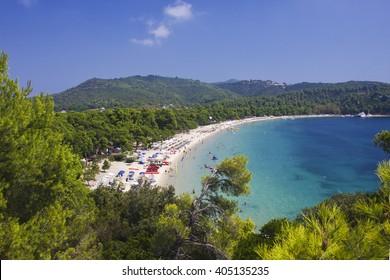 Famous Koukounaries beach at Skiathos island in Greece