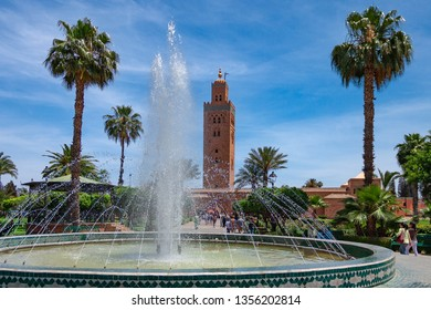 The famous Koutoubia Mosque and the park close to it