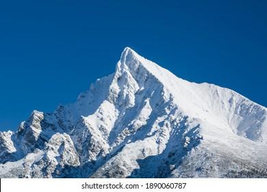 Famous Krivan peak (2494m) symbol of Slovakia in High Tatras mountains , Slovakia