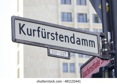 The famous Kurfuerstendamm Berlin - Kudamm area and shopping street - BERLIN / GERMANY - AUGUST  31, 2016
