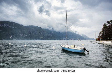 Famous  lake Como. Bellagio. Lombardy. Italy. Summer time. Rainy day at Como. Italy vacation travel.