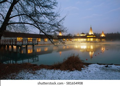 The famous Lake Heviz at night at winter. Heviz lake is the 2nd largest natural thermal lake in the world.