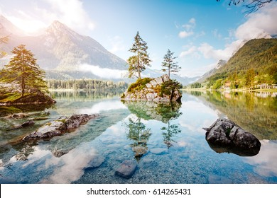 Famous lake Hintersee one of the best places on planet. Picturesque scene. Location resort Ramsau, National park Berchtesgadener Land, Upper Bavaria, Germany Alps, Europe. Explore the world's beauty.